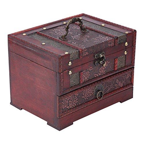 Boîte de Bijoux en Bois Style de Rétro Coffret de Rangement Organisateur avec Miroir Design de Motif Raisins