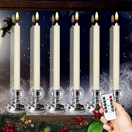 Wondise Remote Flameless Window Taper Candles with Timer and Suction Cups, Battery Operated 3D Wick LED Flickering Window Candles Real Wax Warm Light Christmas Decoration Set of 6(Silver Holders)