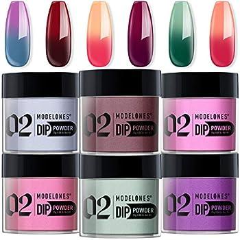 Modelones Dip Powder Color Change Nail Set 6 Summer Colors Dipping Powder Refill Set 0.88oz/25g for French DIY Nail Art Salon No Nail Lamp Needed