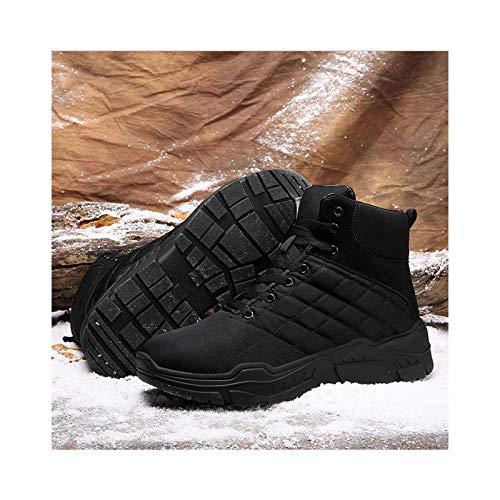 HaoLin Ventilador del Ejército Bota Militar Botas De Nieve De Montañismo Zapatillas Cálidas Zapatos De Trabajo De Felpa Calzado Zapato,Black-42