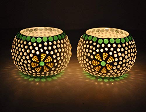 TIED RIBBONS Green Fusion Mosaic Glass Votives TeaLight Candle Holder Votive for Side or Center Table Dining Room Home Decoration and Gifts(Glass, Pack of 2)