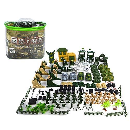 Militaire Playset Set, Speelgoedsoldaten, militairen, militair Camps, tanks, vliegtuigen, vlaggen, draagkoffer slagveld en accessoires (220 stuk)