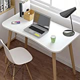 KaminHome - Mesa Escritorio despacho Libby Oficina hogar Ordenador PC portátil Trabajo Estudio Estilo nórdico escandinavo Patas de Madera (Blanco (100 cm x 75 cm x 60 cm))