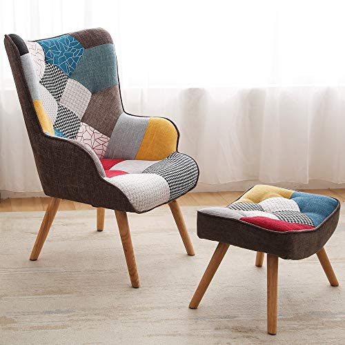 Chair and Ottoman Set, KGOPK Accent Arm Chair with Footrest for Living Room, Upholstered Fabric Side Chair, Creative Splicing Cloth Surface, Colorful