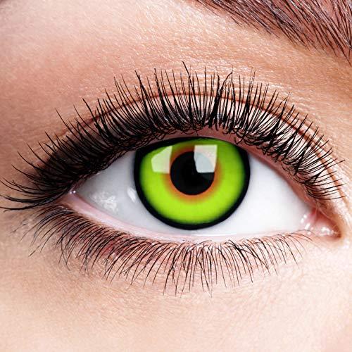 Farbige Kontaktlinsen ohne Stärke Mad Hatter mit schwarzer Rand Grün Devil Motiv Linsen Halloween Karneval Fasching Cosplay Anime Manga Grüne Augen Green Eye Verrückter Hutmacher