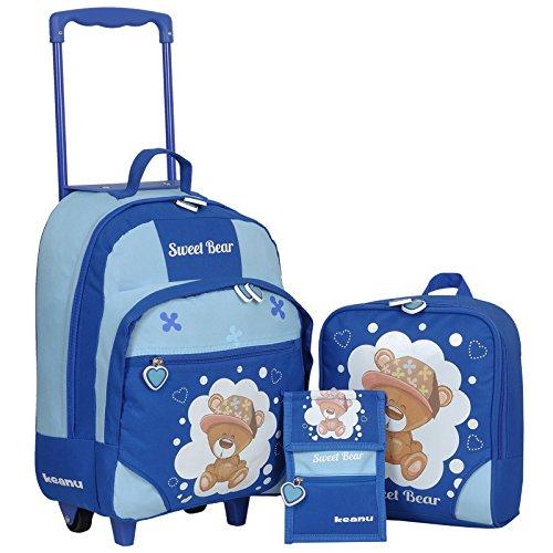 Keanu Kindertrolley 3er Set Reisegepäck stabil, höhenverstellbarem Griff, Reißverschlussfach, Reisekoffer Rucksack Brustbeutel (Blau - Sweet Bear)