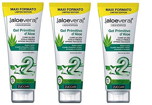 Zuccari Gel primitif d'aloès x2 – 3 boîtes de 250 ml Protège, répare, idrata et lenisce également la peau plus sensible, stressata et Rougeur