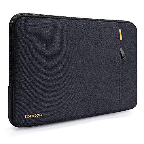 "tomtoc 360°保護 耐衝撃 ラップトップスリーブケース 15インチ MacBook Pro Touch Bar搭載 A1990 A1707 / 2020発売 Dell XPS 15 / ThinkPad X1 Carbon 第1-4世代 / X1 Yoga / 15"" New Surface Laptop 3 / 14 HP Acer Chromebook対応、 15インチノートパソコン インナーバッグ、 アクセアリーポケット付き、 撥水加工、 ブラックブルー"