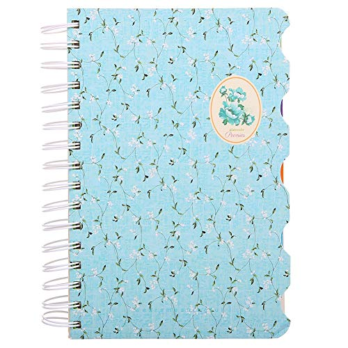 """5 Subject Notebook,Wide Ruled Spiral Notebooks,A5 Travelers Notebook, Colored Dividers with Tabs, Cute Floral Notepad, Hardcover Journal Memo Planner for School Kids Girls Women, 5.7""""×8.27"""", 300 Pages"""