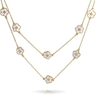 Flower Long Gold Plated Brass Crystal Accent Station Tin Cup Chain Wrap Layer Clover Necklace Women 40 Inch More Colors