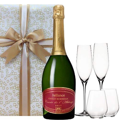 お祝い 結婚祝い 結婚記念日 誕生日【ワインとグラスのギフトセット】フランス産 スパークリングワイン「クレマン・ド・ボルドー」750ml/タンブラーとシャンパングラス 各2セット 箱入り【ギフト】贈答用 贈り物 プレゼント