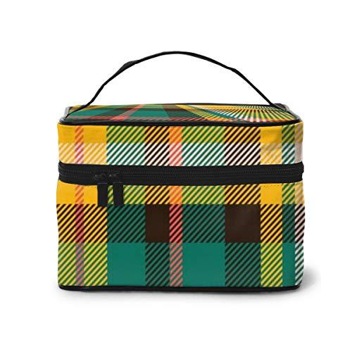 Travel Makeup Cosmetic Bags Girl Toiletry Bags Makeup Tartan Scotland Seamless Plaid Pattern