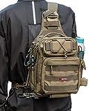 ピシファン(Piscifun)タックルバッグ 4way多機能バッグ ワンショルダーバッグ アウトドア用 釣り用 撮影用 1000D防水ナイロン カーキ