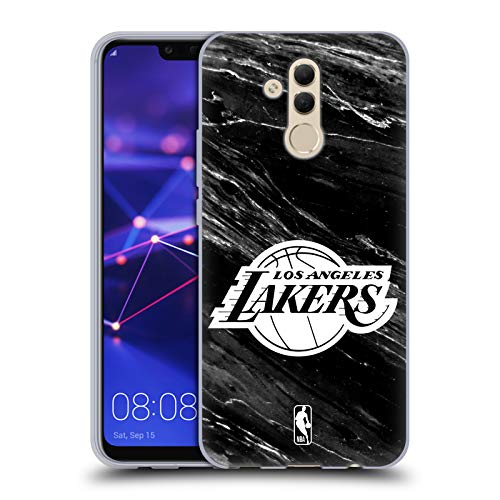 Ufficiale NBA Marmo B&N Los Angeles Lakers Cover in Morbido Gel Compatibile con Huawei Mate 20 Lite