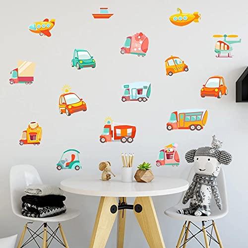 Pegatinas De Pared De Vehículos De Dibujos Animados Habitaciones Para Niños Papel Tapiz Para Decoración Del Hogar Papel Tapiz Para Mural De Coche De Avión Vinilo Decorativo Autoadhesivo