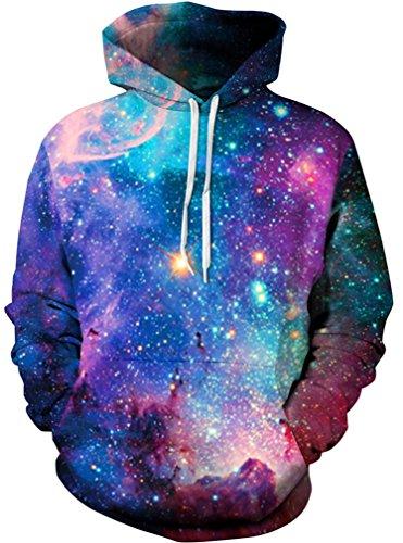 HelloTem Unisex 3D Galaxy Printed Sweatshirt Men's Pullover Big Pockets Hooded Hoodies, Small/Medium