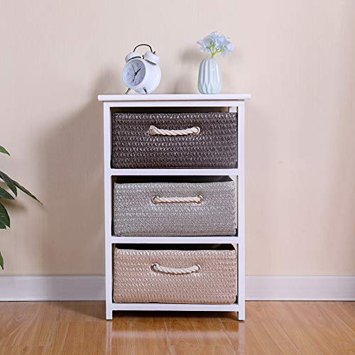 Ruication Large Chest of Drawer Bedside Table Storage Cabinets 3 Wicker Woven Baskets Organiser Country Style Home Office Bedroom Side Cupboard Unit Nightstand for Bedroom Living Room Bathroom Hallway
