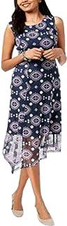 Alfani Womens New 1261 Navy Printed Sheer Asymmetrical Sleeveless Dress 12 B+B