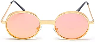 LUKEEXIN Punk Style Metallic Round UV Protection Sunglasses for Unisex-Adult Outdoor (Color : Orange)