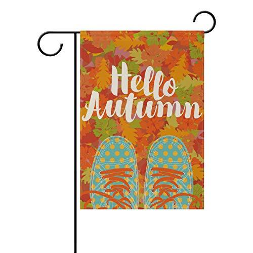 MyDaily Hello Herbstschuhe Herbstblätter, dekorativ, doppelseitig, 30,5 x 45,7 cm, 71,1 x 101,6 cm, Polyester, Multi, 28 x 40 inch