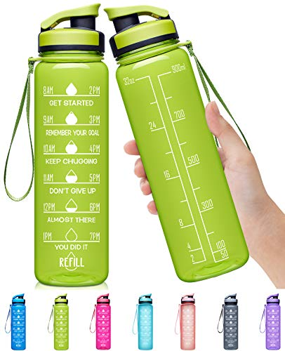Elvira 32oz Large Water Bottle with Motivational Time Marker & Removable Strainer,Fast Flow BPA Free Non-Toxic for Fitness, Gym and Outdoor Sports-Green