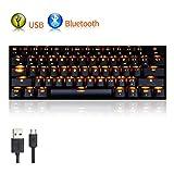 LexonElec Gaming Mechanical Keyboard RK61 Wired/Wireless Bluetooth 61 Keys Orange Yellow LED Backlit USB Ergonomic Multimedia Waterproof Pro Gaming Keypad (Brown Switch, Black)