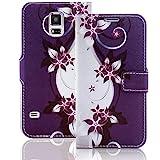 numerva Handyhülle kompatibel mit LG L90 Hülle [Blumen Muster] Case LG L90 Handytasche Wallet