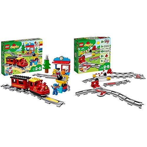 LEGO DUPLO Trains - Tren de Vapor, Juguete Educativo de Aprendizaje de Codificación con Muñecos y Locomotora + Lego Duplo Town - Vías ferroviarias (10882) Juego para Bebes