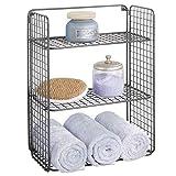 mDesign Repisa de pared plegable con 3 niveles – Baldas para baño de alambre...