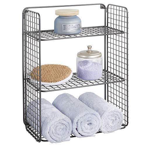 mDesign Repisa de pared plegable con 3 niveles – Baldas para baño de alambre metálico – Cesta de alambre para guardar toallas de baño, champú y más – Estantes de metal con diseño de rejilla – gris