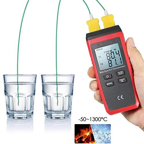 ZHLZH Termometri digitali da Laboratorio, termometro Digitale a Doppio Canale Tipo K/J -58 ° F ~ 1022 ° F (-50~1300 ° C) con 2 sonde sensore termocoppia Tipo K, 3 campi di Misura, Display LCD