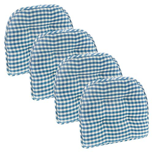Klear Vu Tufted No Slip Dining Chair Pad Cushion, Set of 4, Gingham Blue