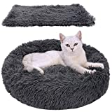 Dorakitten Cat Bed, Cat Bed for Indoor Cats Bed with Blanket Cat Bed Round Kitten Cushion Bed, Faux Fur Cat Beds for Small Cat and Small Dog, Plush Soft Cat Sleeping Bed