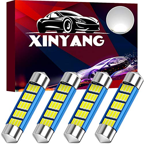 4PCS 578 Festoon LED Car Bulb 41mm 42mm 1.65in 211-2 Led Light Bulb Extremely Bright 20-SMD 4014 Chipsets Canbus Error Free 212-2 LED Lamp for Car Map Dome License Plate Lights, 6500k White