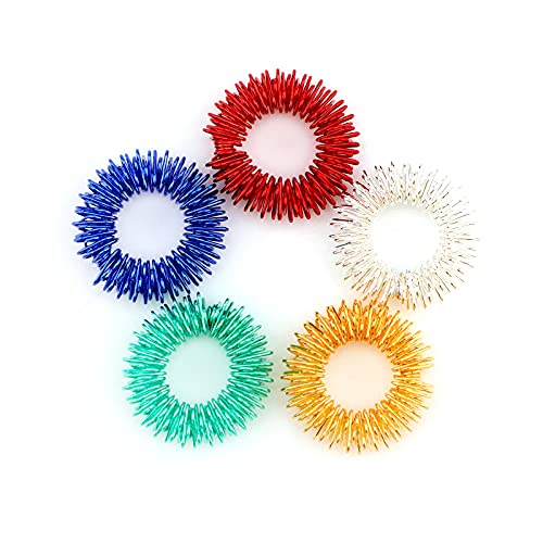 Savita Spiky Sensorische Finger Akupressur Ringe Fingermassagering Massageringe Stress Abbauen Therapieknete für Kinder Jugendliche & Erwachsene, 5 helle Farben(5 Pack)