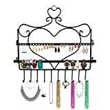 BELLE VOUS Jewellery Organiser - Wall Mount Jewelry Stand 34 x 35cm - Heart Shape Wall Hanger with Removal Bar for All Your Earrings, Studs, Necklaces, Bangles, Rings, Watch & Bracelets (Black)