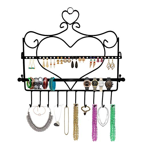 BELLE VOUS Jewellery Organiser - Wall Mount Jewelry Stand 34 x 35cm - Heart Shape Wall Hanger with Removal Bar for All Your Earrings, Studs, Necklaces, Bangles, Rings, Watch & Bracelets