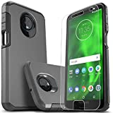 Moto G6 Plus Case, Starshop [Shock Absorption] Dual Layers Impact Advanced Protective Phone Cover with [Premium HD Screen Protector Included] (Black)