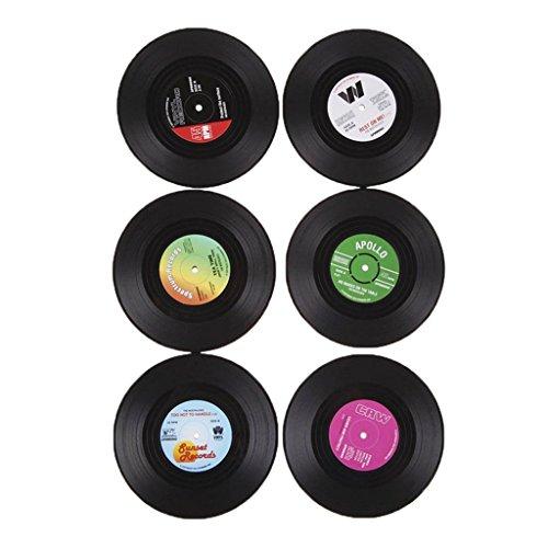 6Pcs/Set Sous-verre Porte-gobelet Rond Vintage CD Vinyle Tapis Arts de Table