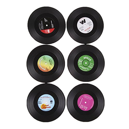 6Pcs/Set Sous-verre Porte-gobelet Rond Vintage CD Vinyle Tapis Arts de Table