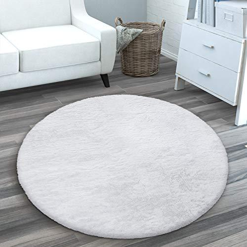 Teppich Wohnzimmer Kunstfell Plüsch Hochflor Shaggy Weich Waschbar, Grösse:120 cm Rund, Farbe:Weiß