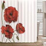 JFAFJ Cortina de Baño de Poliéster Flores Rosadas Tela de Baño Lavable a Prueba de Agua,Cortina de Ducha con Ganchos Tamaño:180x180