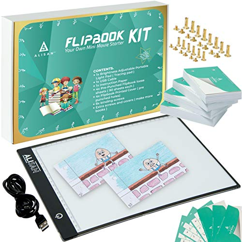 ALISAN's Animation Flip Book Kit With LED Light Pad / Box For Tracing 360 Pre-drilled Flipbook Paper with Binding Screws. (160 GSM Drawing Paper).