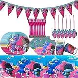 Trolls Party Supplies Service de table pour fêtes avec pancartes, assiettes, tasses, serviettes, pailles, nappes et fourchettes Motif Trolls