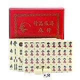 Yongenee Mini Tablero Viaje Mahjong Juego ambientado Chino Tradicional Mahjong Juegos 144 Azulejos, tamaño portátil en la Caja del Juguete Herramientas