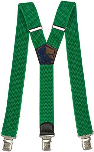 Tirantes Hombre Elásticos Ancho 40 mm con clips extra fuerte totalmente adjustable (Verde)