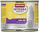 animonda Integra Protect Sensitive para gatos, comida dietética para gatos, comida húmeda para alergias alimentarias, cordero + arroz, 6 x 200 g