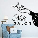 wZUN Salón de uñas Pegatinas de Pared de Vinilo salón de Belleza peluquería calcomanías de decoración Mujer manicura Papel Tapiz de Arte 63X66cm