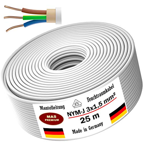 Feuchtraumkabel Stromkabel 5, 10, 15, 20, 25, 30, 35, 40, 50, 75, 80, oder 100m Mantelleitung NYM-J 3x1,5 mm² Elektrokabel Ring für feste Verlegung (25m)