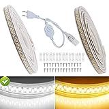 VAWAR 1m LED Band – Kalt Weiß, 5630 SMD 180 Leds/m Strip, sehr helle Beleuchtung, IP65 wasserdicht Lichtschlauch, 220V 230V LED Streifen für DIY Dekoration von zu Haus, Küche, Garten, Party